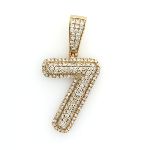 10K Yellow Gold Number 7 Pendant 1.1 Ctw
