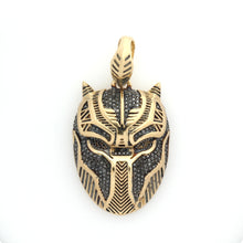 Load image into Gallery viewer, 10K Yellow Gold Black Panther Mask Pendant 0.4 Ctw