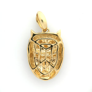 10K Yellow Gold Black Panther Mask Pendant 0.4 Ctw