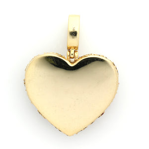 14K Yellow Gold Cracked Heart Pendant 2.65 Ctw