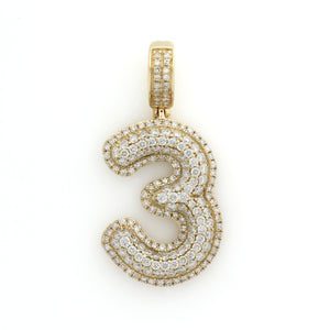 10K Yellow Gold Number 3 Pendant 1.5 Ctw