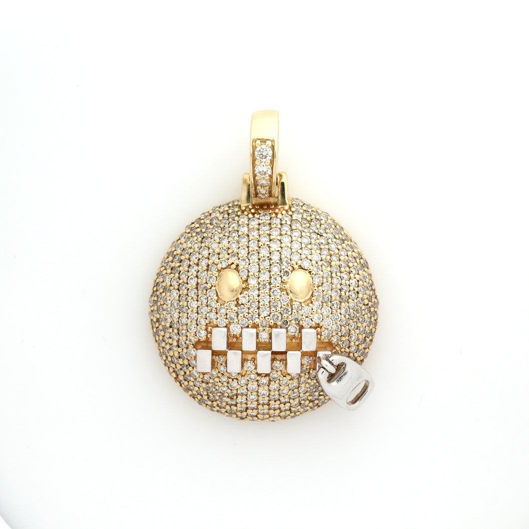 14K Yellow Gold Zipper Mouth Emoji Pendant 2.25 Ctw