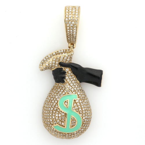 10K Yellow Gold Money Bag Pendant 0.84 Ctw