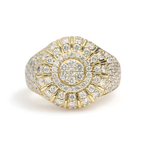 10K Yellow Gold Circle Pave Ring 2.45 Ctw