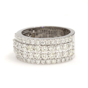 10K White Gold Stepped Band Ring 2.5 Ctw