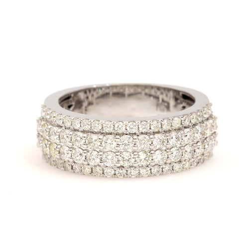 10K White Gold Stepped Band Ring 1.85 Ctw