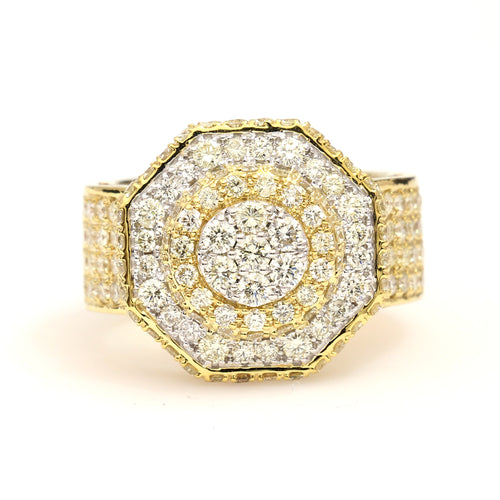 10K Yellow Gold Octagon Pave Ring 2.95 Ctw
