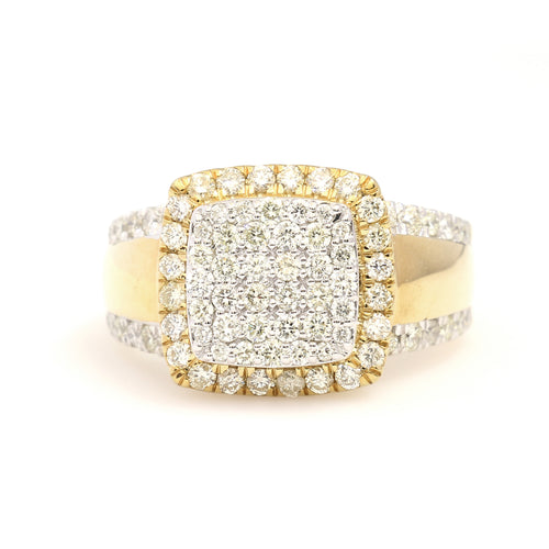 10K Yellow Gold Square Pave Ring 2 Ctw