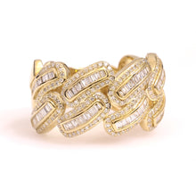 Load image into Gallery viewer, 10K Yellow Gold Baguette Cuban Ring 0.88 Ctw