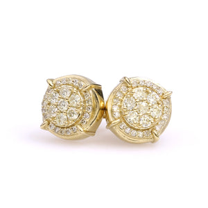 10K Yellow Gold Round Cluster Earrings 0.5 Ctw