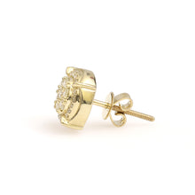 Load image into Gallery viewer, 10K Yellow Gold Round Cluster Earrings 0.5 Ctw