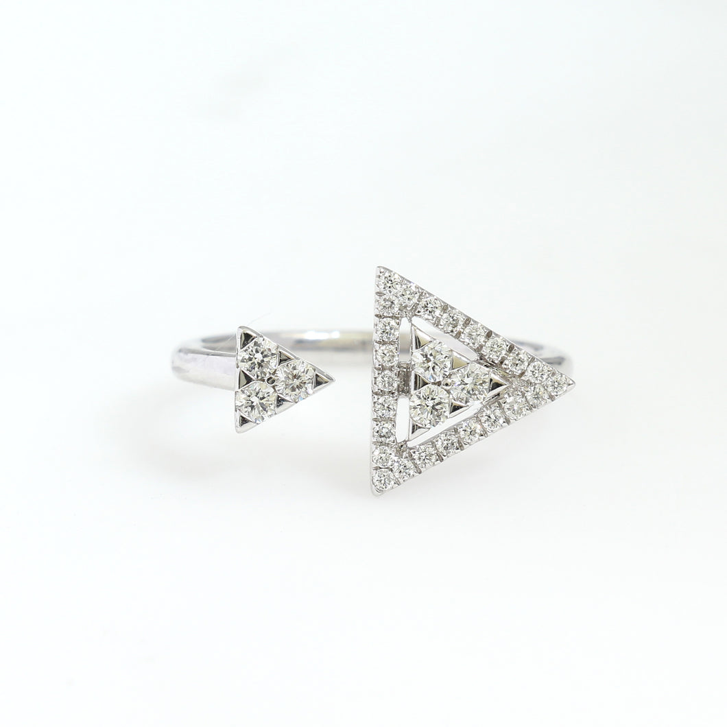 14K White Gold Triangle Ring 0.34 Ctw