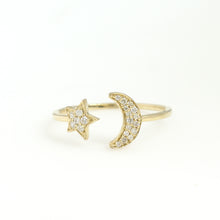 Load image into Gallery viewer, 14K Yellow Gold Star And Moon Ring 0.12 Ctw