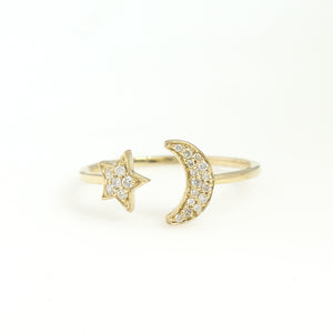 14K Yellow Gold Star And Moon Ring 0.12 Ctw