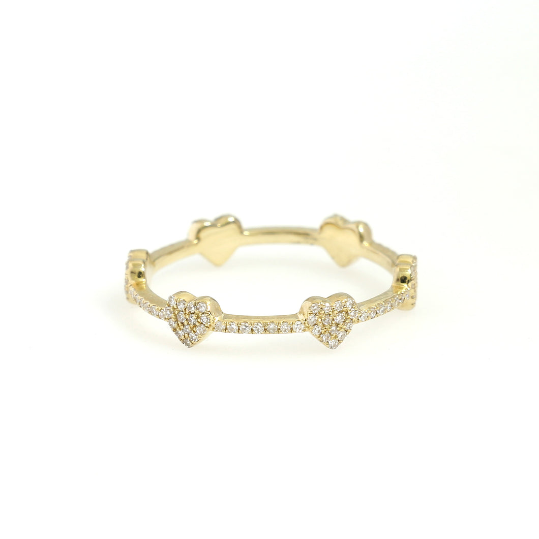 14K Yellow Gold Heart Eternity Ring 0.22 Ctw
