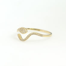 Load image into Gallery viewer, 14K Yellow Gold Snake Ring 0.09 Ctw