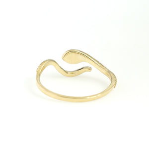 14K Yellow Gold Snake Ring 0.09 Ctw