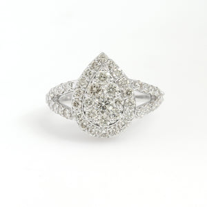 14K White Gold Pear Cluster Ring 1.7 Ctw