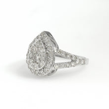 Load image into Gallery viewer, 14K White Gold Pear Cluster Ring 1.7 Ctw