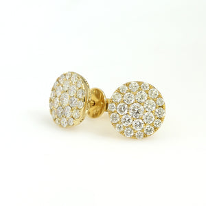 10K Yellow Gold Circle Cluster Earrings 1.1 Ctw