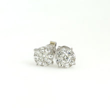 Load image into Gallery viewer, 14K White Gold Circle Cluster Earrings 0.55 Ctw