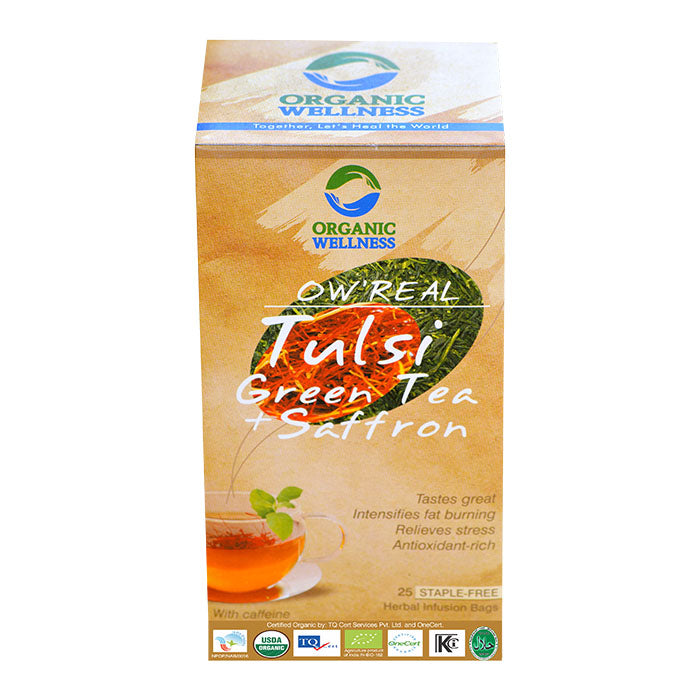 Bloom Organic OW'REAL Tulsi Green Tea + Saffron Tea