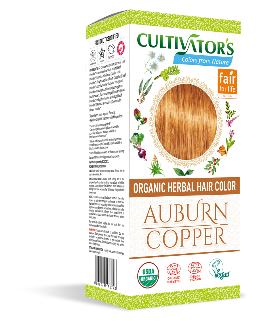 Cultivator's Organic Herbal Auburn/Copper Hair Color (4x25g)