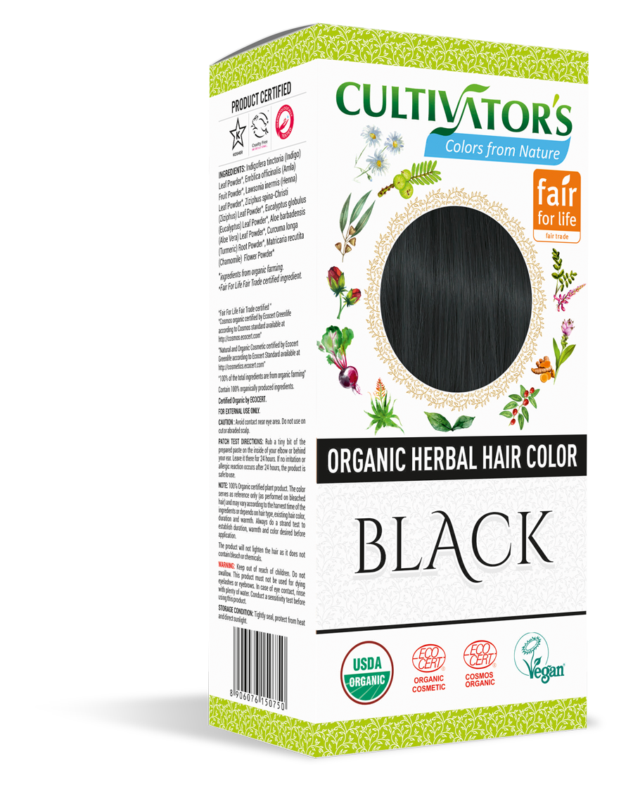 Cultivator's Organic Herbal Black Hair Color (4x25g)