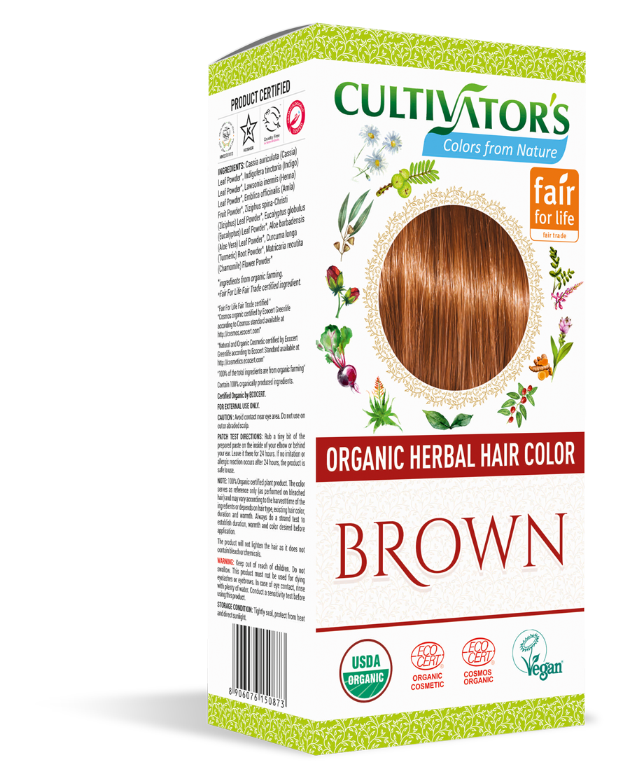 Cultivator's Organic Herbal Brown Hair Color (4x25g)