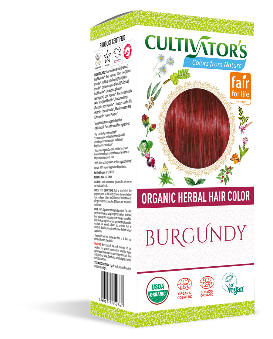 Cultivator's Organic Herbal Burgundy Hair Color (4x25g)