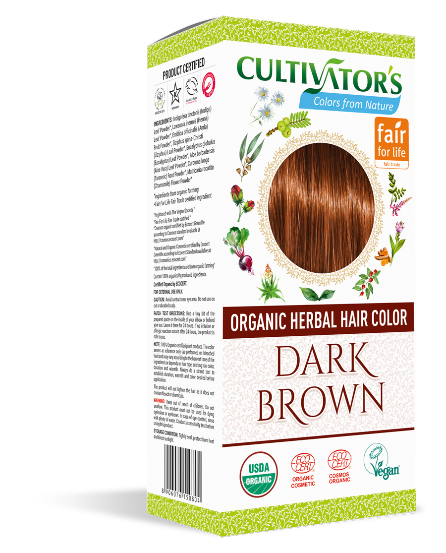 Cultivator's Organic Herbal Dark Brown Hair Color (4x25g)