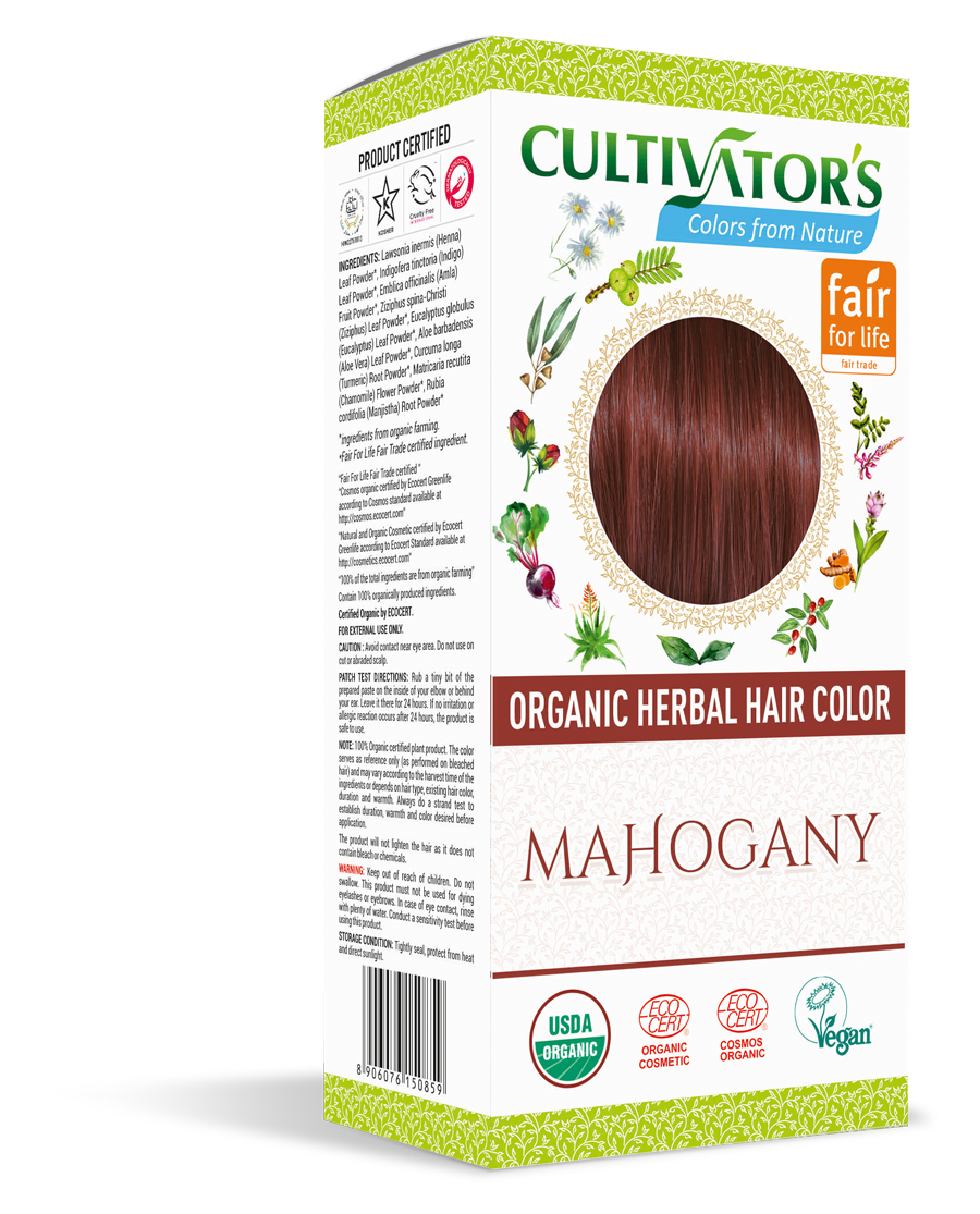 Cultivator's Organic Herbal Mahogany Hair Color (4x25g)