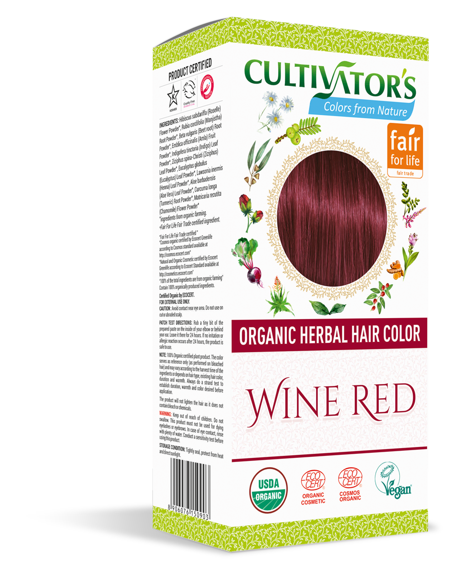 Cultivator's Organic Herbal Wine Red Hair Color (4x25g)