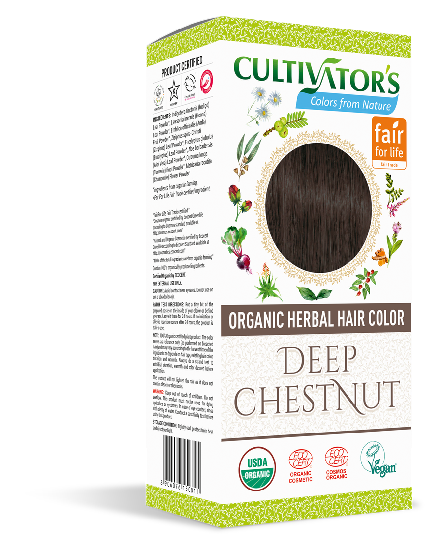 Cultivator's Organic Herbal Deep Chestnut Hair Color (4x25g)