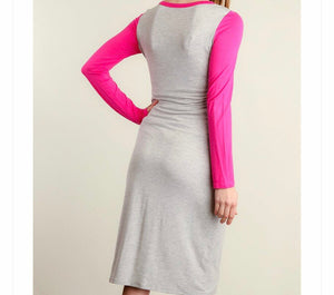 Grey & Pink Pocketed Dress