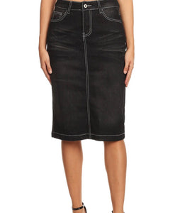 Black Denim Pencil Skirt
