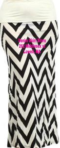 Beige & Black Chevron Maxi Skirt