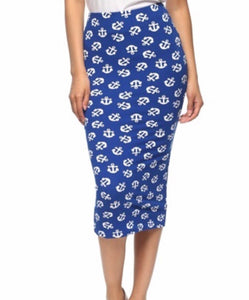 Blue & White Anchor Pencil Skirt