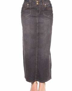 Gray Wash long Denim Skirt