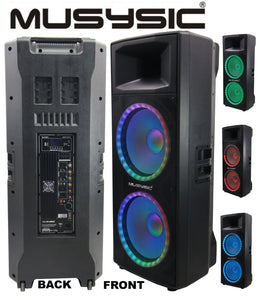 "MUSYSIC Professional Dual 2x15"" 4000W Speaker PA DJ Link 2 Wirelessly MU-215BT2"