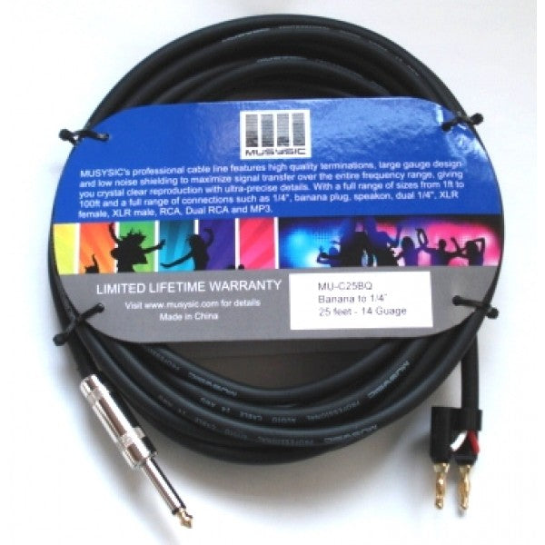 25 feet 14-Gauge Speaker Audio Cable 1/4