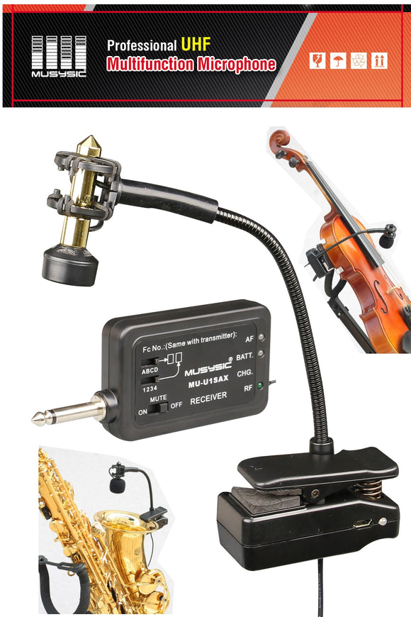 Professional UHF Wireless Instrument Microphone Saxophone Trumpet trombone horn Violin etc