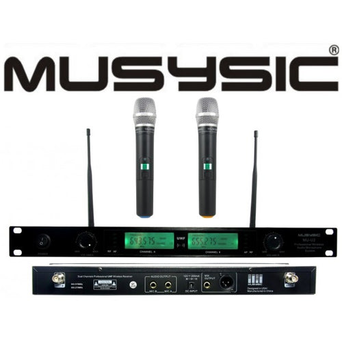 2 Channel Professional UHF Handheld Wireless Microphone System MU-U2H
