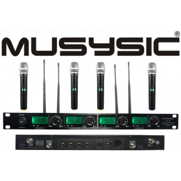 4 Channel Professional UHF Handheld Wireless Microphone System MU-U4H