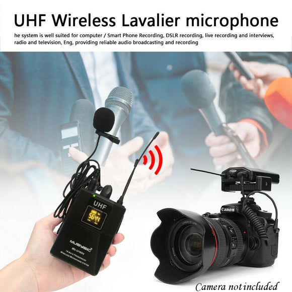 Professional UHF Wireless Lavalier Microphone System for DSLR Camera Smart Phone
