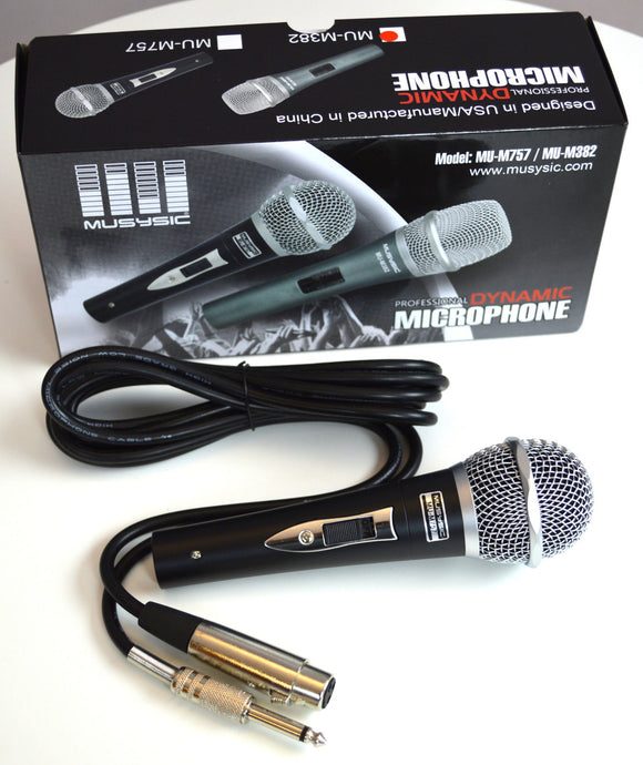 Pro DJ Studio Karaoke Handheld Wired Vocal Dynamic Microphone & Cable MU-M757