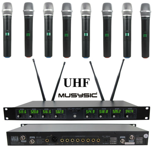 MUSYSIC Professional 8-Channels UHF Handheld Wireless Microphone System MU-U8-HH