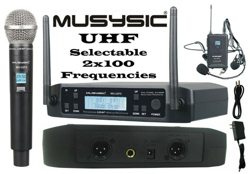 MUSYSIC 2x100 Channels UHF Wireless Handheld Lapel Headset Microphone MU-U2F5-HL