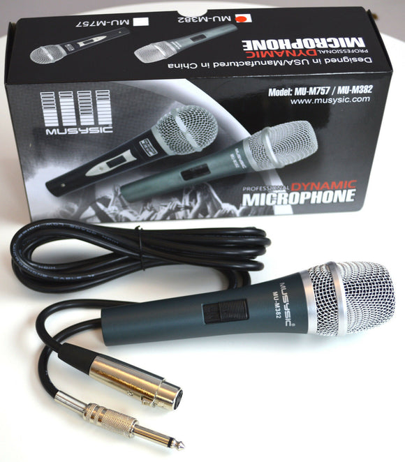 Pro DJ Studio Karaoke Handheld Wired Vocal Dynamic Microphone & Cable MU-M382