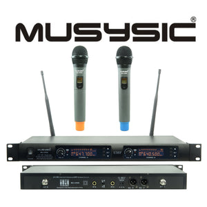 Professional 2x100 Channel UHF Wireless Handheld Microphone System MU-UR96HH
